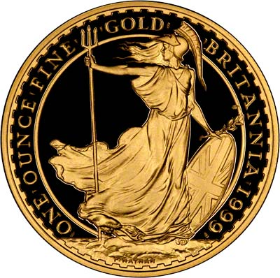 Reverse of 1999 Gold Proof One Ounce Britannia