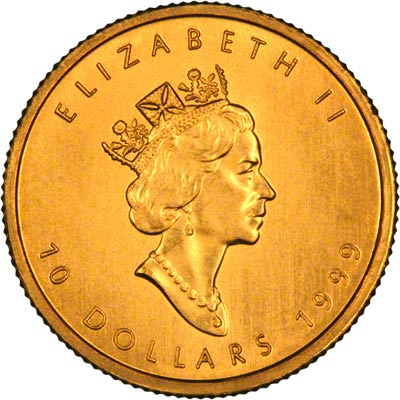 Obverse of 1999 Canadian Quarter Ounce Gold Maple Leaf
