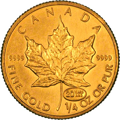Reverse of 1999 Canadian Quarter Ounce Gold Maple Leaf
