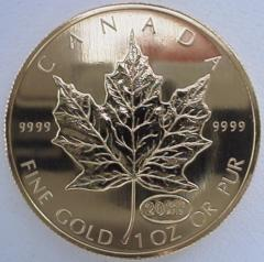 Reverse of 1999 Canadian One Ounce Gold Maple Leaf