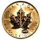 Reverse of 1999 Canadian Tenth Ounce Gold Maple Leaf - 5 Dollars