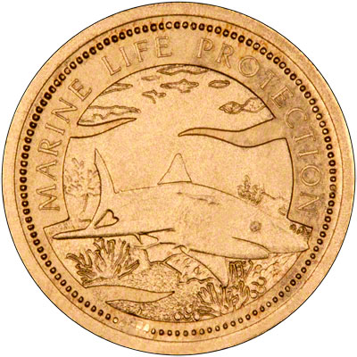 Reverse of 1999 Palau Gold One Dollar