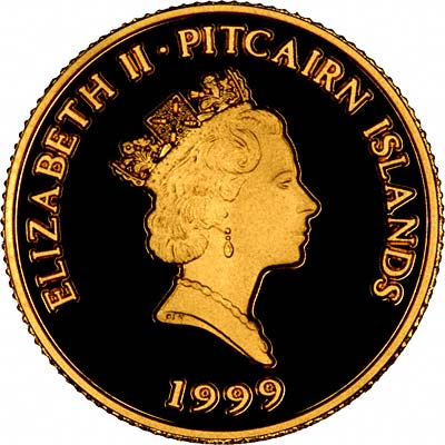 Obverse of 1999 Pitcairn Islands Gold 10 Dollars