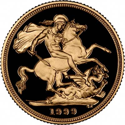 Reverse of 1999 Gold Proof Sovereign