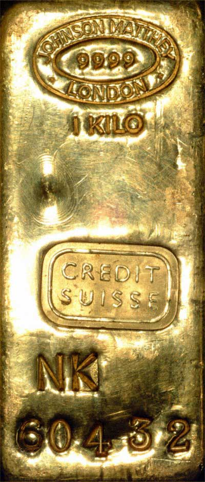 Our Johnson Matthey Credit Suisse One Kilo Gold Bullion Bar Photo