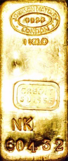 Johnson Matthey One Kilo Gold Bar  Serial Number NK60432 for Credit Suisse