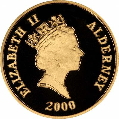 Obverse of 2000 Alderney Battle of Britain 60th Anniversary Gold £25 Proof