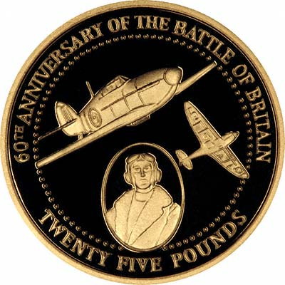 Spitfires on Reverse of 2000 Alderney Battle of Britain 60th Anniversary Gold £25 Proof
