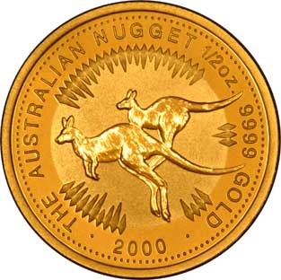 Reverse Design of a Year 2000 Australian One Ounce Gold Kangaroo Nugget Coin