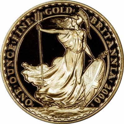 Reverse of 2000 One Ounce Gold Proof Britannia