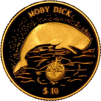 Moby Dick on Reverse of 2000 Cook Islands Gold 10 Dollars