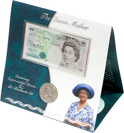 Cupro-Nickel Five Pound Crown and Five Pound Note