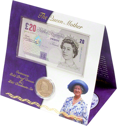 Gold Proof Five Pound Crown and Twenty Pound Note