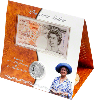 Silver Proof Five Pound Crown and Ten Pound Note
