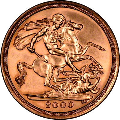 Reverse of 2000 Uncirculated Half Sovereign