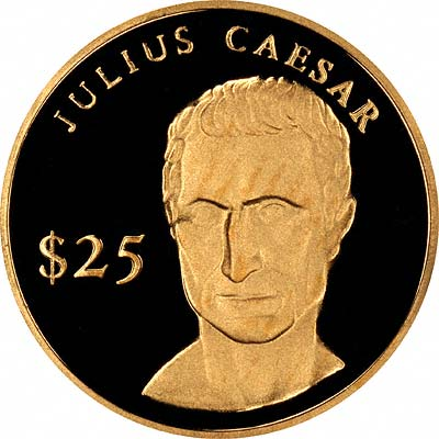 Julius Caesar on Reverse of 2000 Liberian Gold 25 Dollars