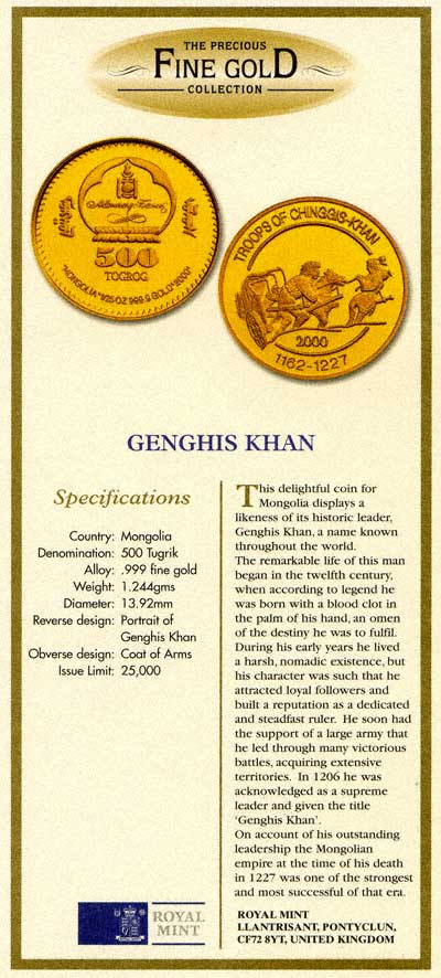Certificates for proof coins royal mint certificate for 2000 mongolia 500 tugrik genghis khan yadclub Image collections