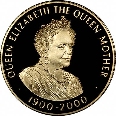 Queen Mother on Reverse of 2000 Saint Helena 50 Pence Gold Proof Coin
