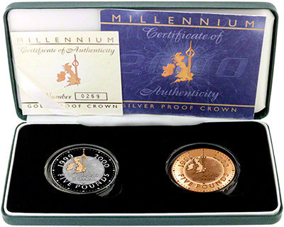 2000 two coin millennium crown gold and silver set in box