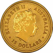 Obverse Design of a Year 2001 Australian Tenth Ounce Gold Kangaroo Nugget Coin