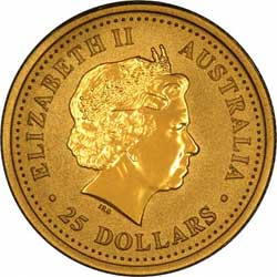 Obverse Design of a Year 2001 Australian Quarter Ounce Gold Kangaroo Nugget Coin