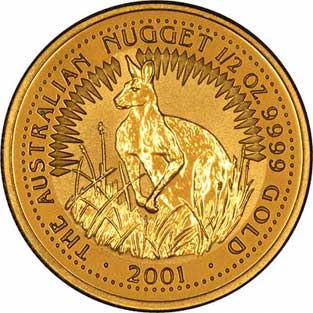 Obverse Design of a Year 2001 Australian Half Ounce Gold Kangaroo Nugget Coin