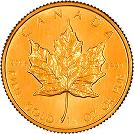 Reverse of 2001 Canadian Quarter Ounce Gold Maple Leaf - 10 Dollars