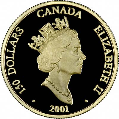 Obverse of 2001 Canadian Gold Proof 150 Dollars
