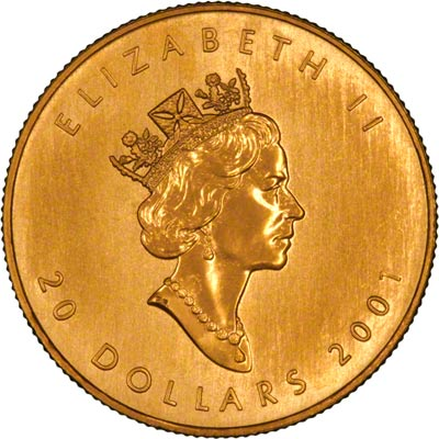 Obverse of 2001 Canadian Half Ounce Gold Maple Leaf