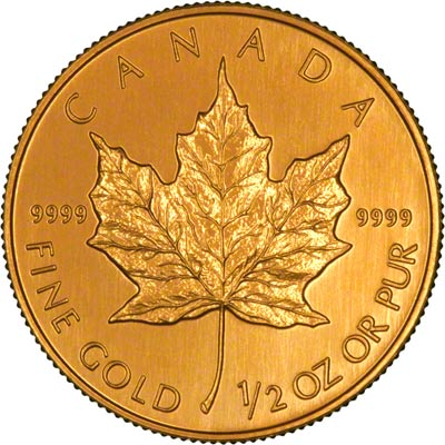 Reverse of 2001 Canadian Half Ounce Gold Maple Leaf - 50 Dollars