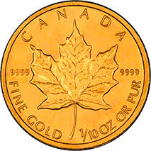 Reverse of 2001 Canadian Tenth Ounce Gold Maple Leaf - 5 Dollars