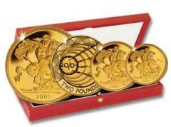 Four Coin Gold Set of 2001 Featuring Marconi £2