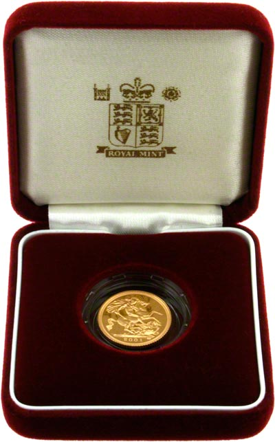 2001 Proof Half Sovereign in Presentation Box