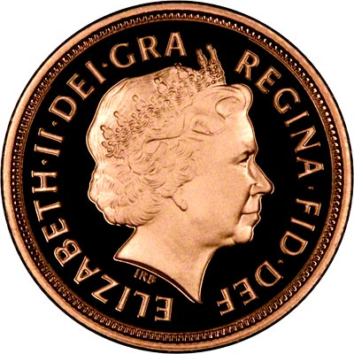 Obverse of 2001 Proof Half Sovereign