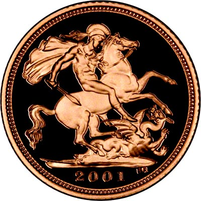 Reverse of 2001 Proof Half Sovereign