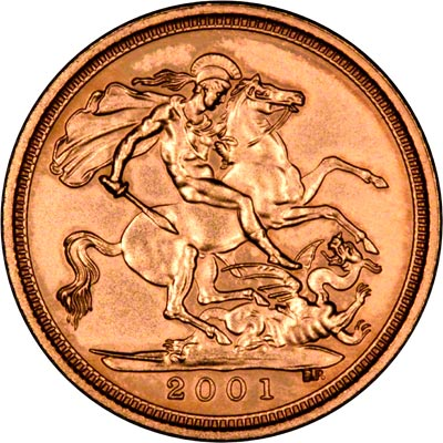 Reverse of 2001 Uncirculated Half Sovereign
