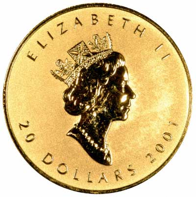 Obverse of 2001 Canadian Gold Maple Leaf
