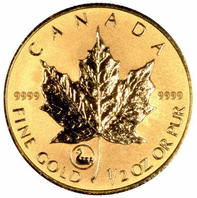 Reverse of 2001 Canadian Half Ounce Gold Maple Leaf With Viking Privy Mark