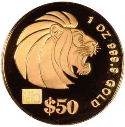 Obverse of One Ounce 2001 Singapore Gold $50