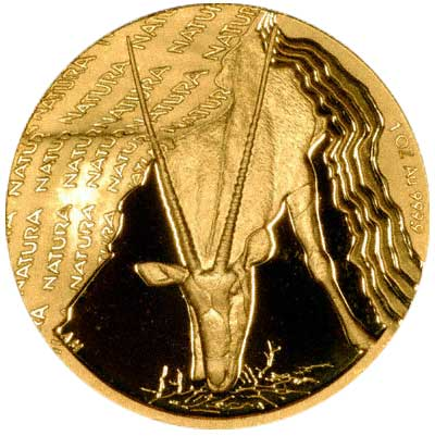 Reverse of 2001 Proof One Ounce Natura Gold Coin