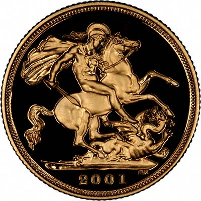Reverse of 2001 Gold Proof Sovereign