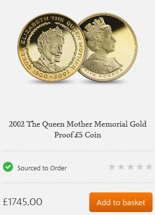 2002 Gold Proof Queen Mother Memorial Five Pound Crown Royal Mint Overlay Error