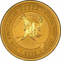 Reverse Design of a Year 2001 Australian Tenth Ounce Gold Kangaroo Nugget Coin