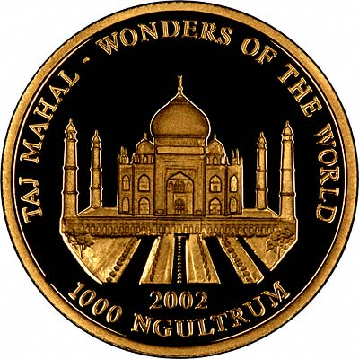 Wonders of the World - Taj Mahal on Reverse of 2002 Bhutan Gold Proof 1,000 Ngultrum