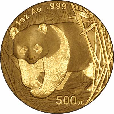Reverse of 2002 One Ounce Gold Panda