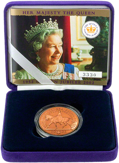 2002 Golden Jubilee Gold Proof Crown in Presentation Box