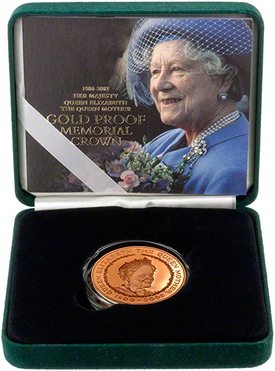2002 Gold Proof Five Pound Crown in Presentation Box