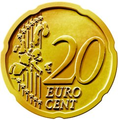 Common Reverse of 2002 Euro 20 Cent in Nordic Gold
