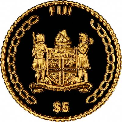 Reverse of 2002 Fiji .9999 Fine Gold 5 Dollars