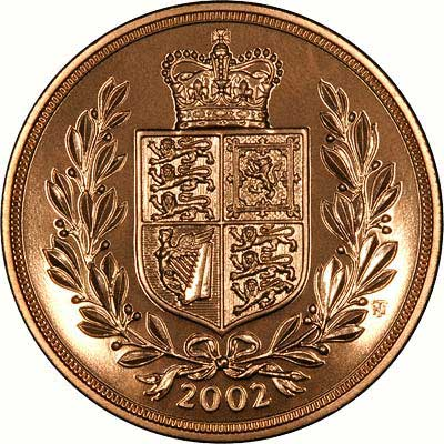 Reverse of 2002 Five Pound Gold Quintuple Sovereign